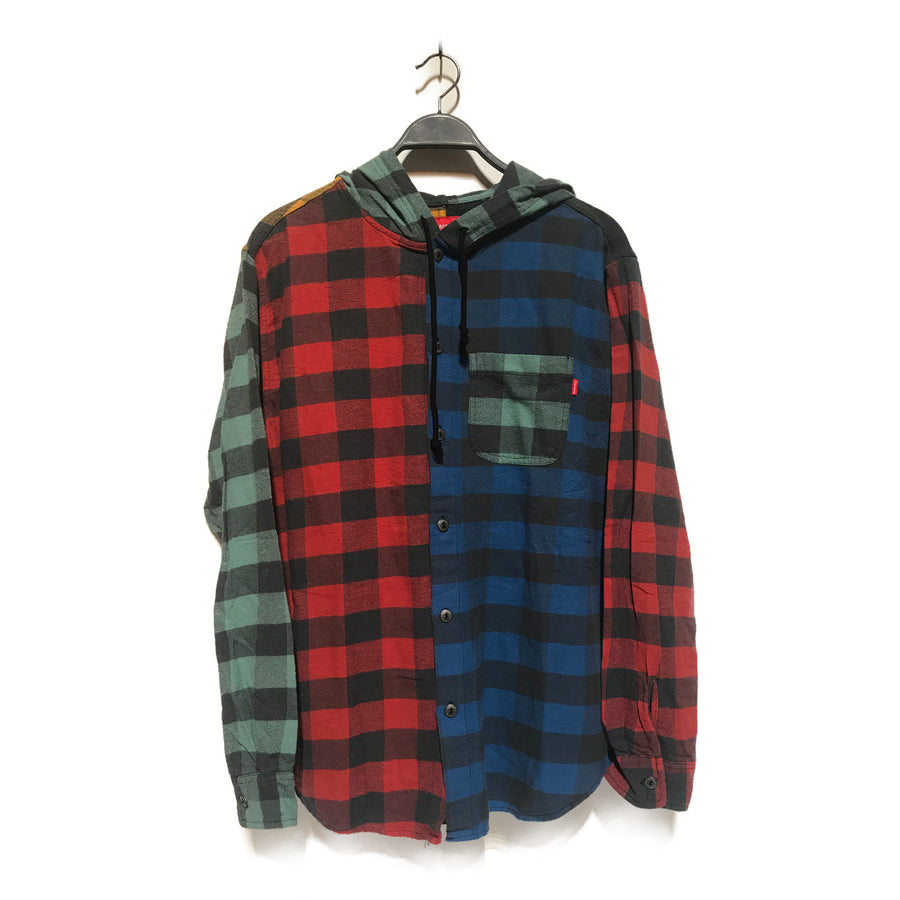 Supreme/HOODED PLAID FLANNEL/Flannel Shirt/L/MLT/Cotton/Plaid