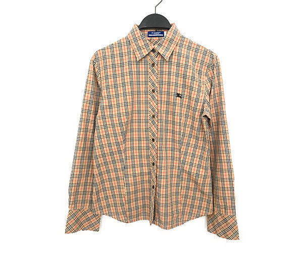 BURBERRY BLUE LABEL/LS Shirt/40/Cotton/BEG/Plaid