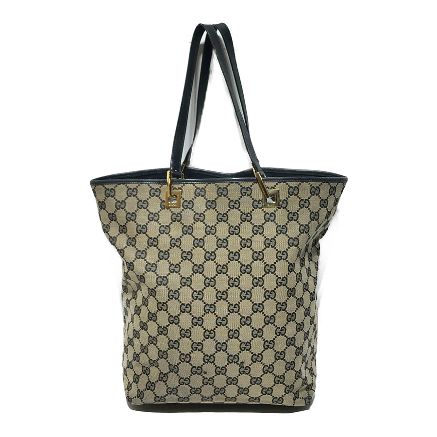 GUCCI/GG CANVAS BLACK LEATHER TRIM/Tote Bag/M/BEG/Others/Monogram