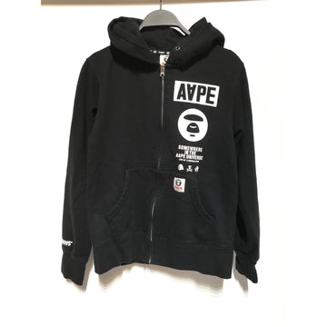 AAPE BY A BATHING APE/./Hoodie/BLK/Cotton/Graphic