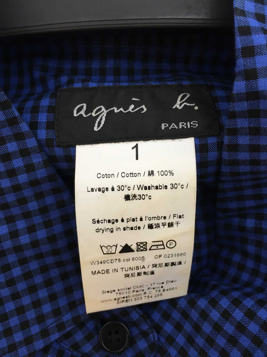 agnes b./S/LS Shirt/BLU/Cotton/Plaid