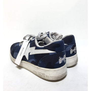 A BATHING APE/11/Low-Sneakers/BLU/Cotton/Camouflage