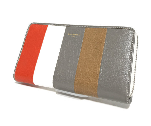 BALENCIAGA/Long Wallet/Leather/GRY/Stripe/