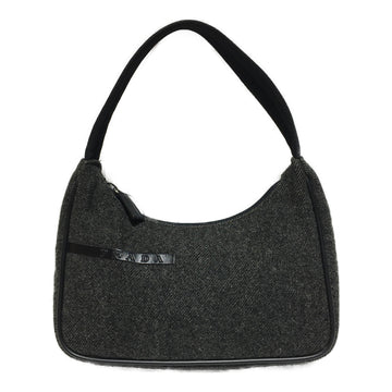 PRADA/TESSUTO WOOL MINI/Hand Bag//GRY/Wool/Plain