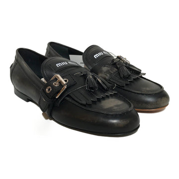 MIU MIU//Loafers/38/BLK/Leather/Plain