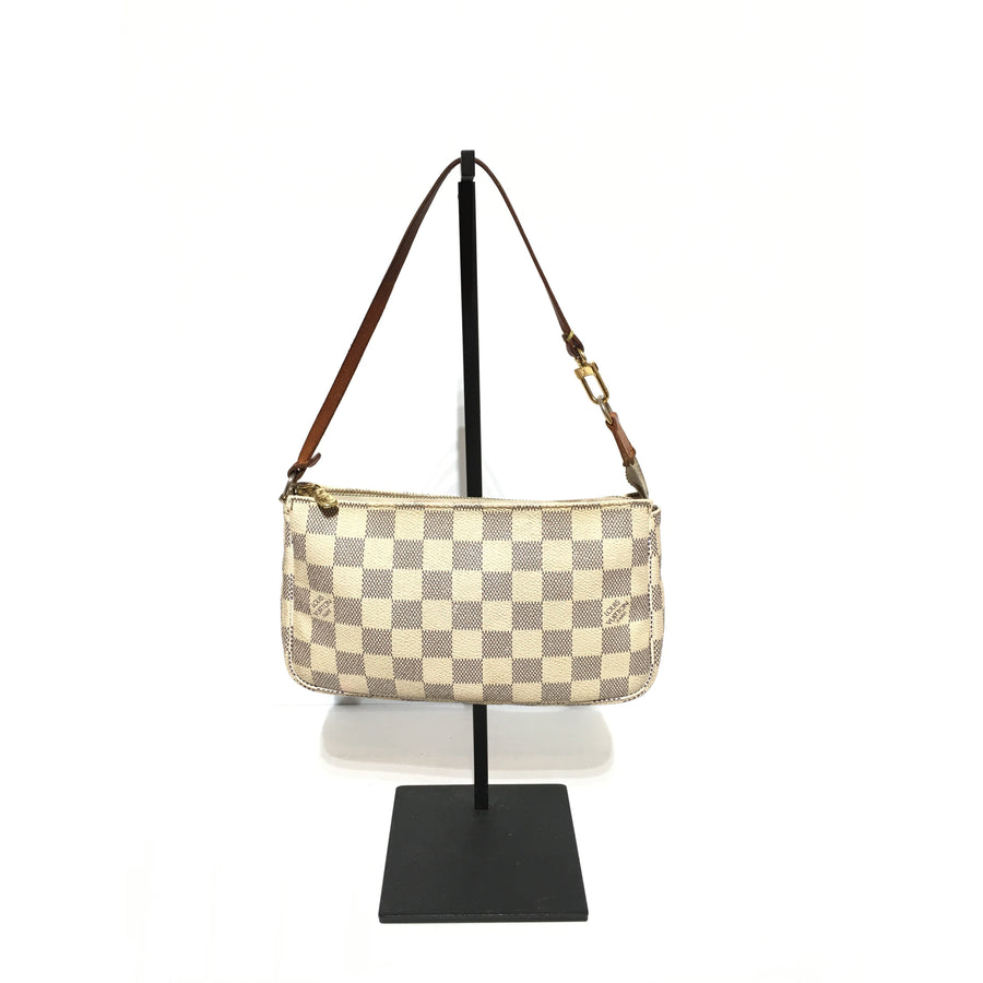 LOUIS VUITTON/DAMIER/AZUR/Pouch/WHT/Leather/Plaid