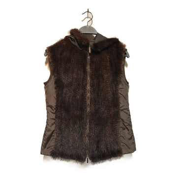 S Max Mara//Nylon Vest/6/BRW/Fur/Animal Pattern