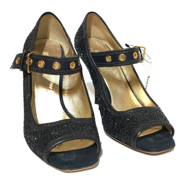 MIU MIU//Heels/EU37/BLK/Leather/Glitter