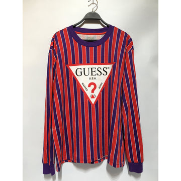 GUESS/XL/LS T-Shirt/RED/Cotton/Stripe