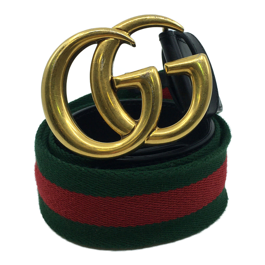 GUCCI/WEB BELT DOUBLE G BUCKLE/Belt//GLD/Cotton/Stripe