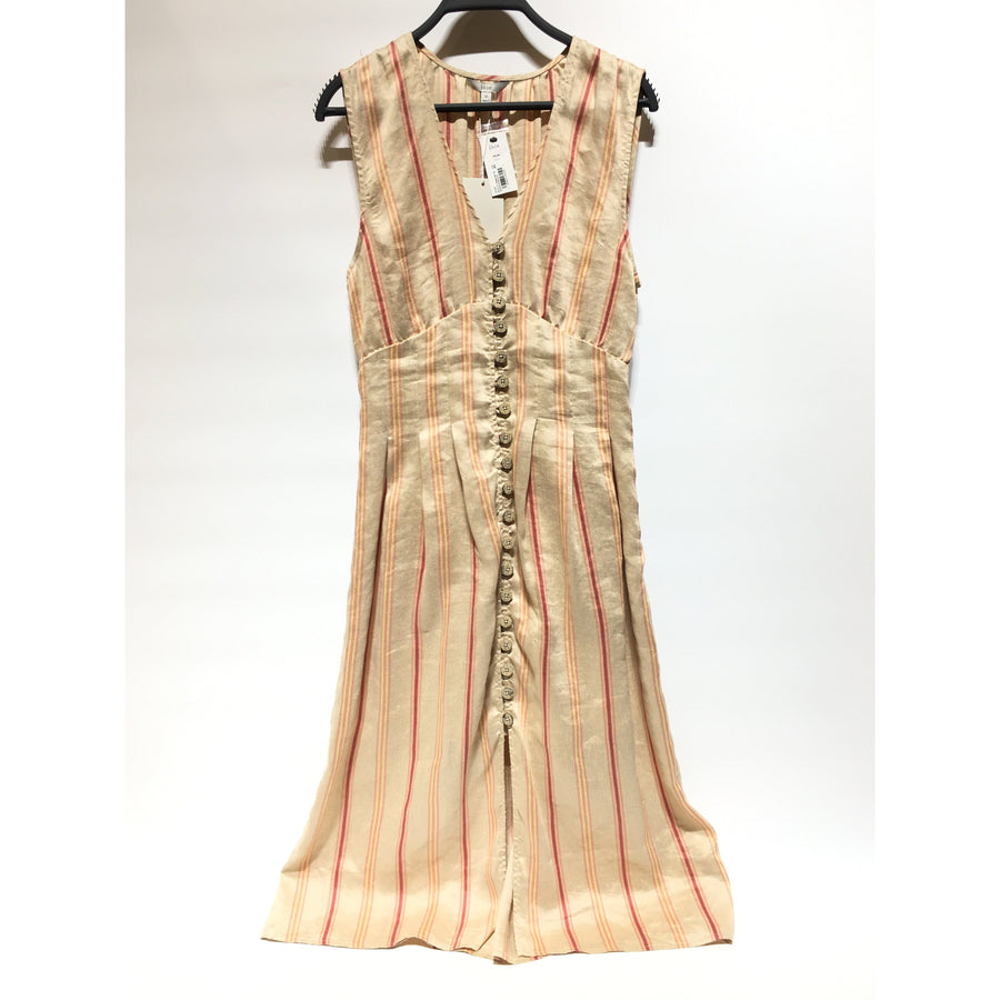Joie/XS/SL Dress/BEG/Linen/Stripe