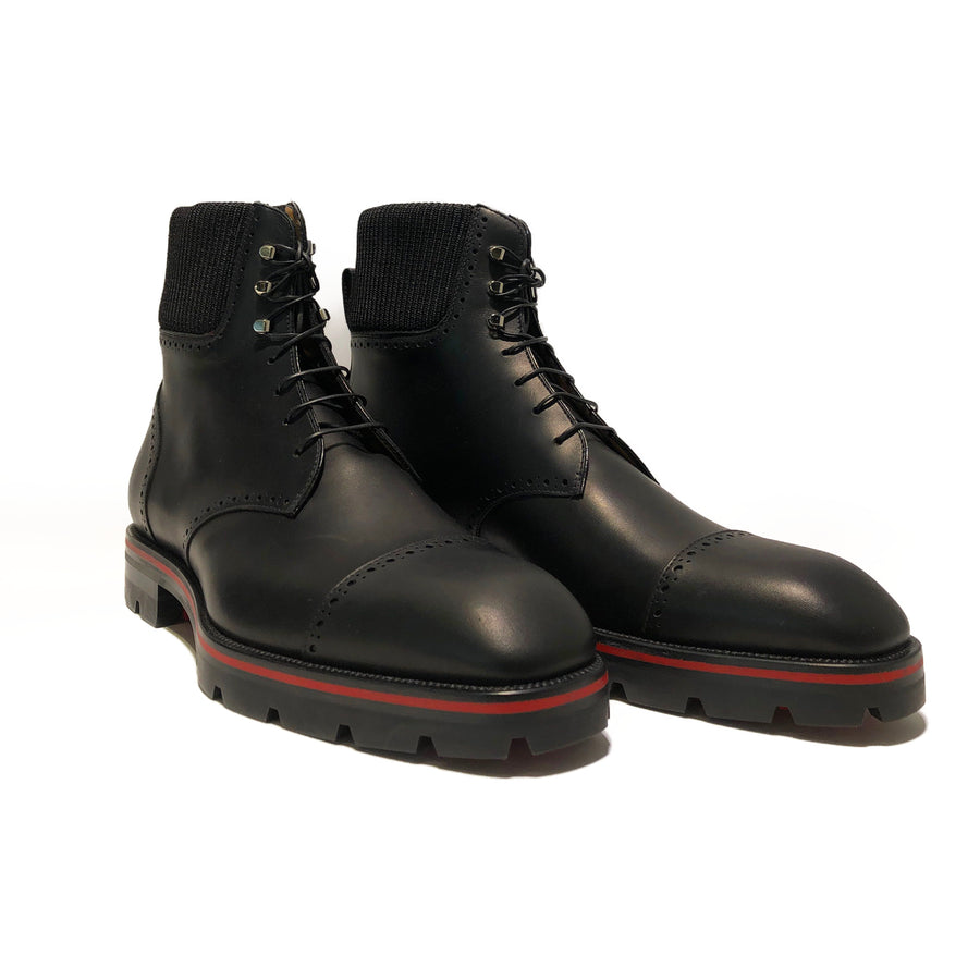 Christian Louboutin/CITYROC FLAT CALF WAX/Dress Shoes/EU42.5/BLK/Leather/Plain/Plain-Toe