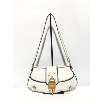 Salvatore Ferragamo/GOLD LOCK/Hand Bag/WHT/Leather/Plain