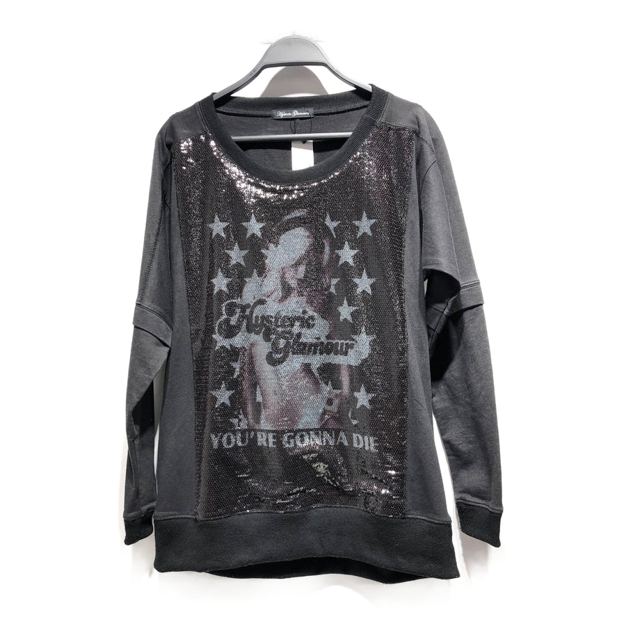 HYSTERIC GLAMOUR/long-sleeved T-shirt/FREE/cotton/BLK