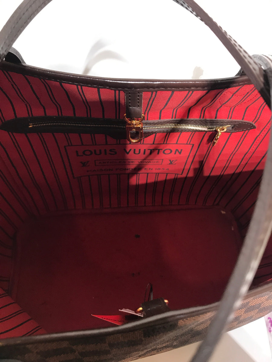 LOUIS VUITTON/DAMIER/NEVER FULL/Tote Bag/BRW/Leather/Plaid