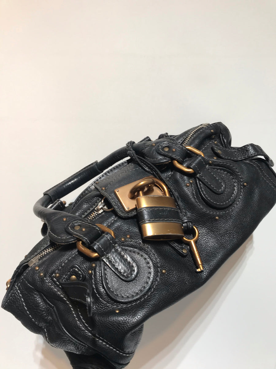 Chloe/Hand Bag/Black/Leather/Plain