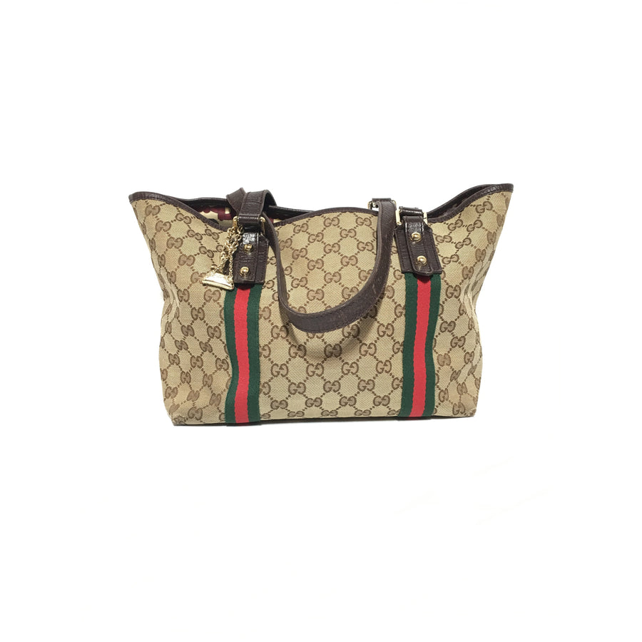 GUCCI/GG Canvas/Web/Hand Bag/BEG/Cotton/Monogram