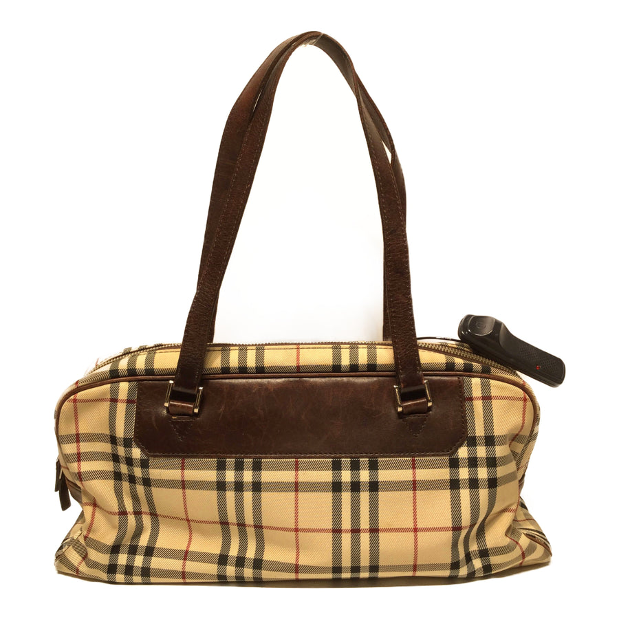 BURBERRY LONDON/Hand Bag/Canvas/BEG/Plaid