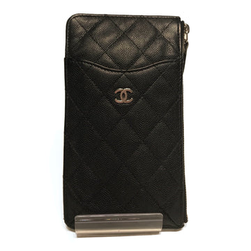 CHANEL//Long Wallet//BLK/Lambskin/Plain