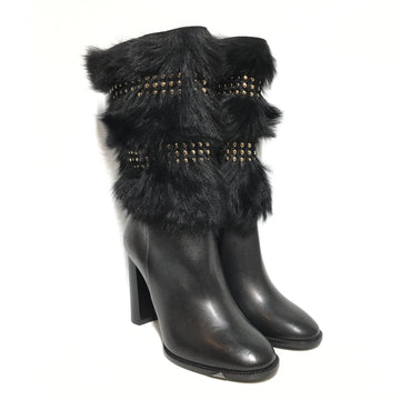 BURBERRY/FUR/36.5/Boots/BLK/Leather/Plain