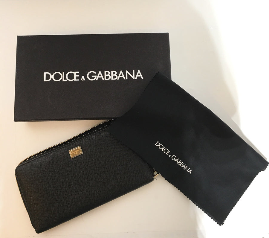 DOLCE&GABBANA/Long Wallet/Leather/BLK