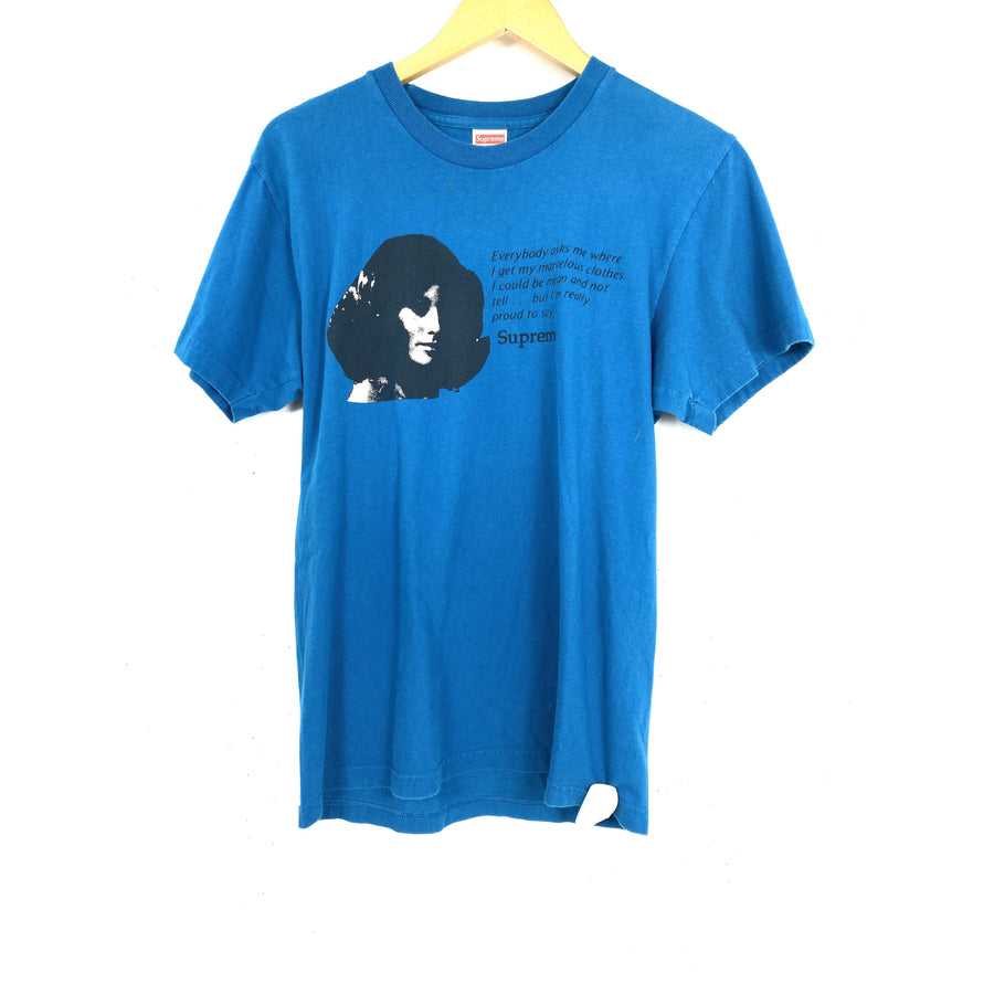 Supreme/Mean Tee/M/T-Shirt/BLU/Cotton/Graphic