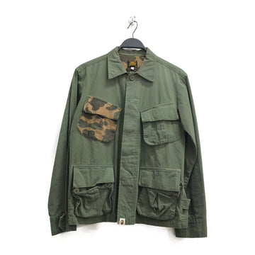 A BATHING APE/Military jacket/S/Cotton/GRN