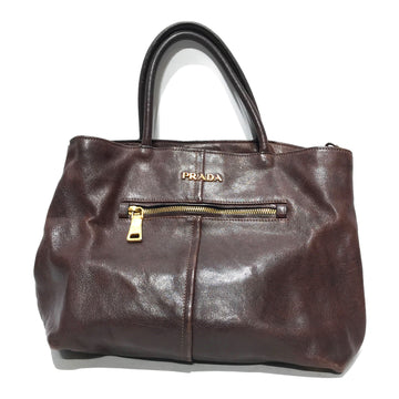 PRADA/PRADA HANDBAG/Hand Bag//BRW/Leather/Plain