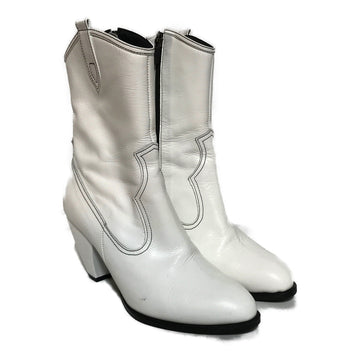JAM'T/COWBOY BOOTS/Heels/6/WHT/Leather/Plain
