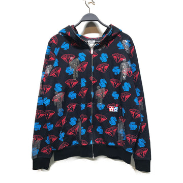BILLIONAIRE BOYS CLUB//Zip Up Hoodie/L/BLK/Cotton/All Over Print