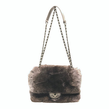 CHANEL/CHINCHILLA FUR FLAP/Cross Body Bag//GRY/Fur/Plain