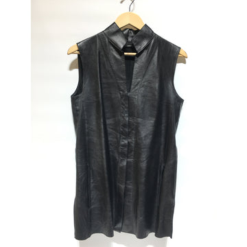 AKRIS/8/Vest/BLK/Leather/Plain