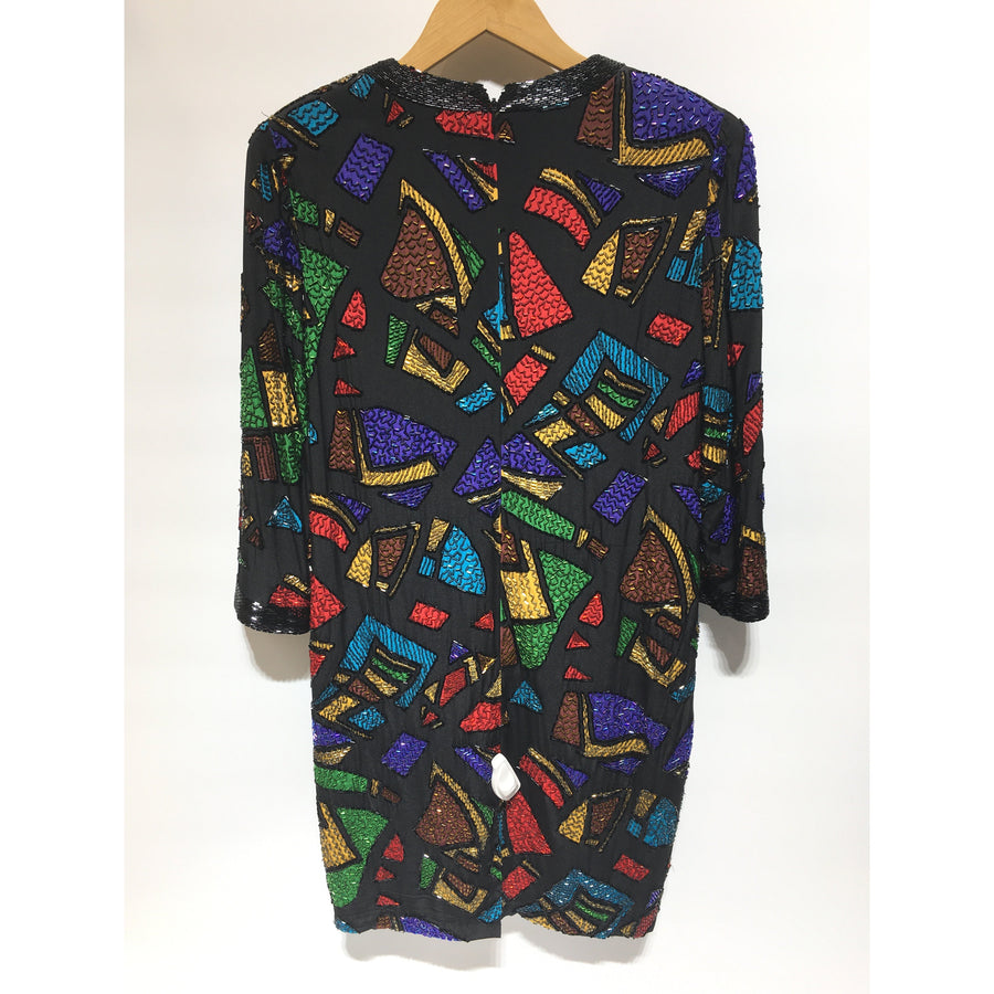 Vintage/L/LS Dress/BLK/Silk/All Over Print