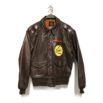 AVIREX/A2 FLIGHT /Leather Jkt/44/BRW/Leather/Graphic