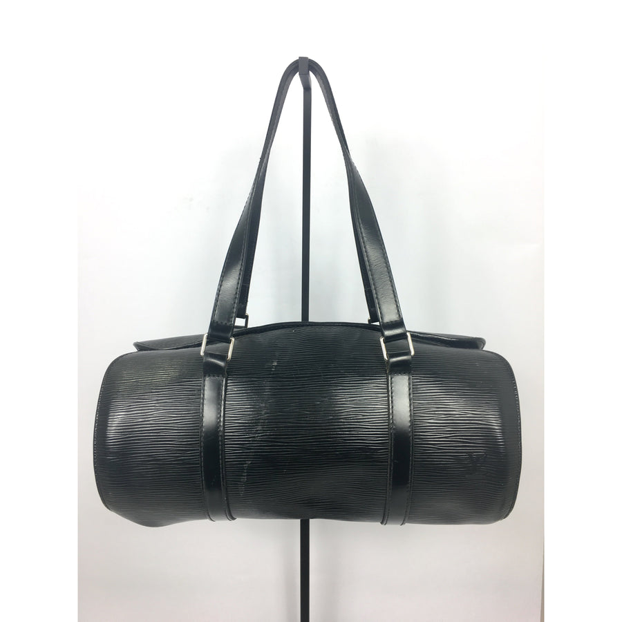 LOUIS VUITTON//Hand Bag/BLK/Leather/Plain