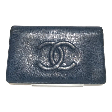 CHANEL//Bifold Wallet//NVY/Leather/Plain