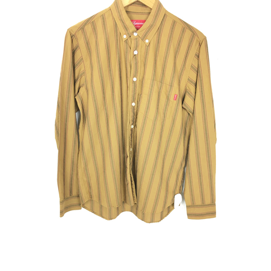Supreme/Oxford Shirt (FW18) Gold Stripe/LS Shirt/M/cotton/YLW