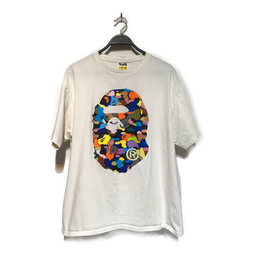 BAPE/MULTICOLOR APE HEAD/T-Shirt/2XL/WHT/Cotton/Graphic