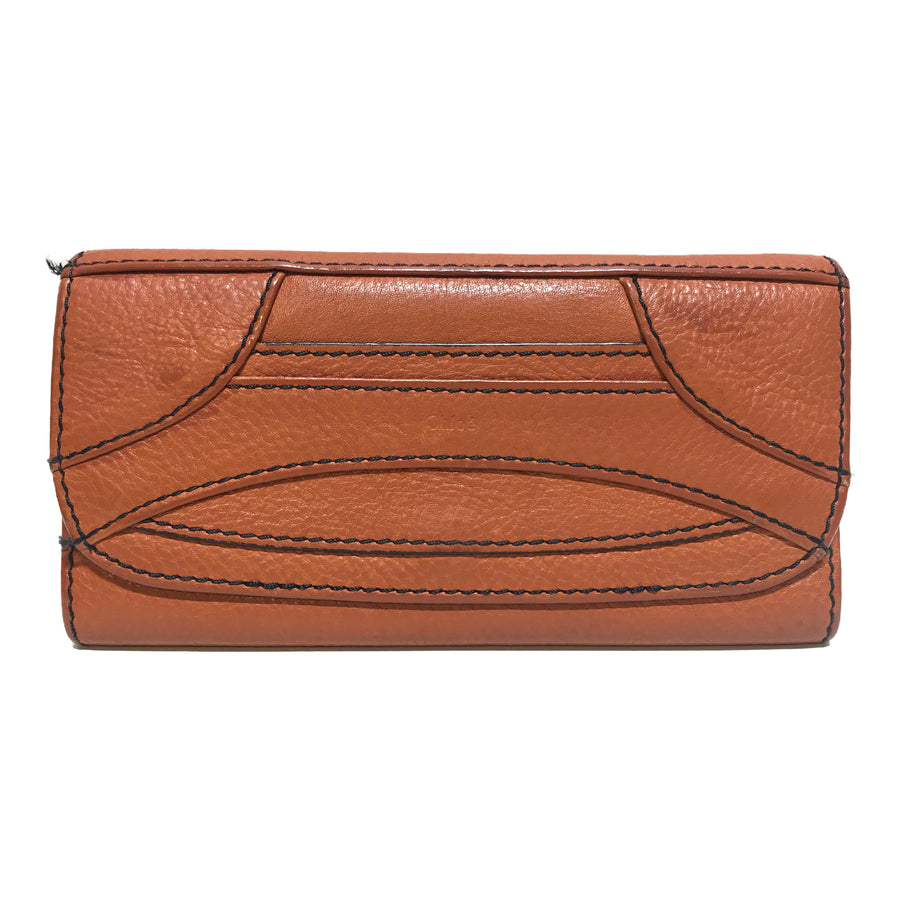 Chloe/Long Wallet/Leather/BRW/Plain