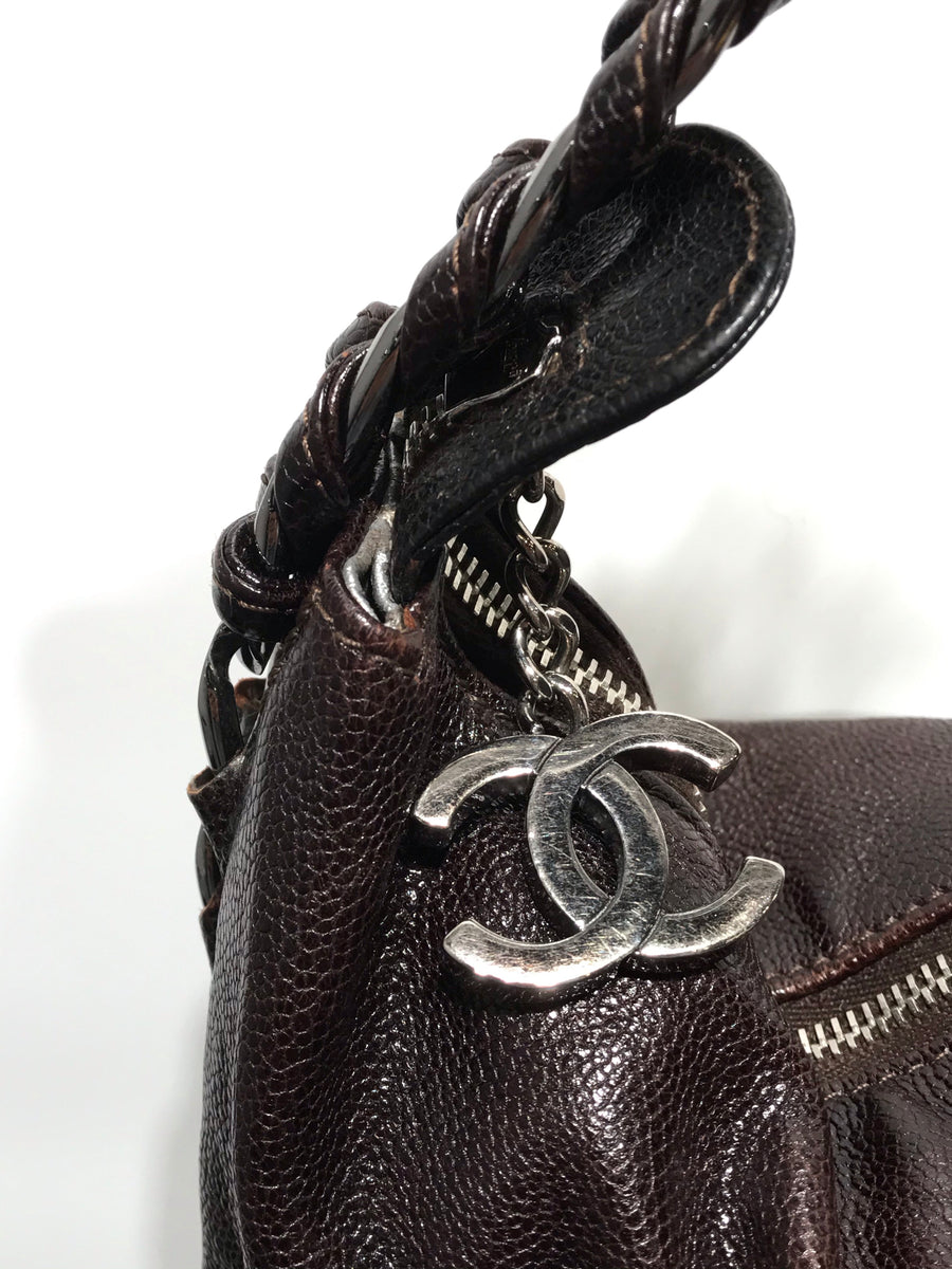 CHANEL/CAVIAR LEATHER/Hand Bag//BRW/Leather/Plain