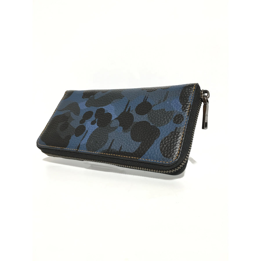 COACH/Long Wallet/Leather/BLU/Camouflage