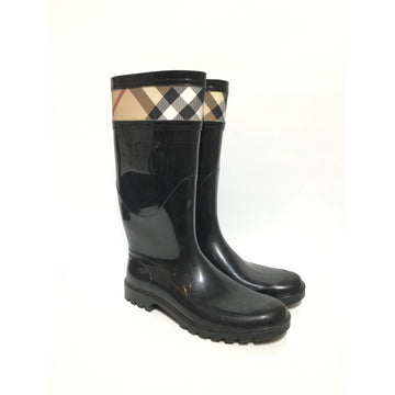 BURBERRY/41/Rain Boots/BLK/Others/Plain