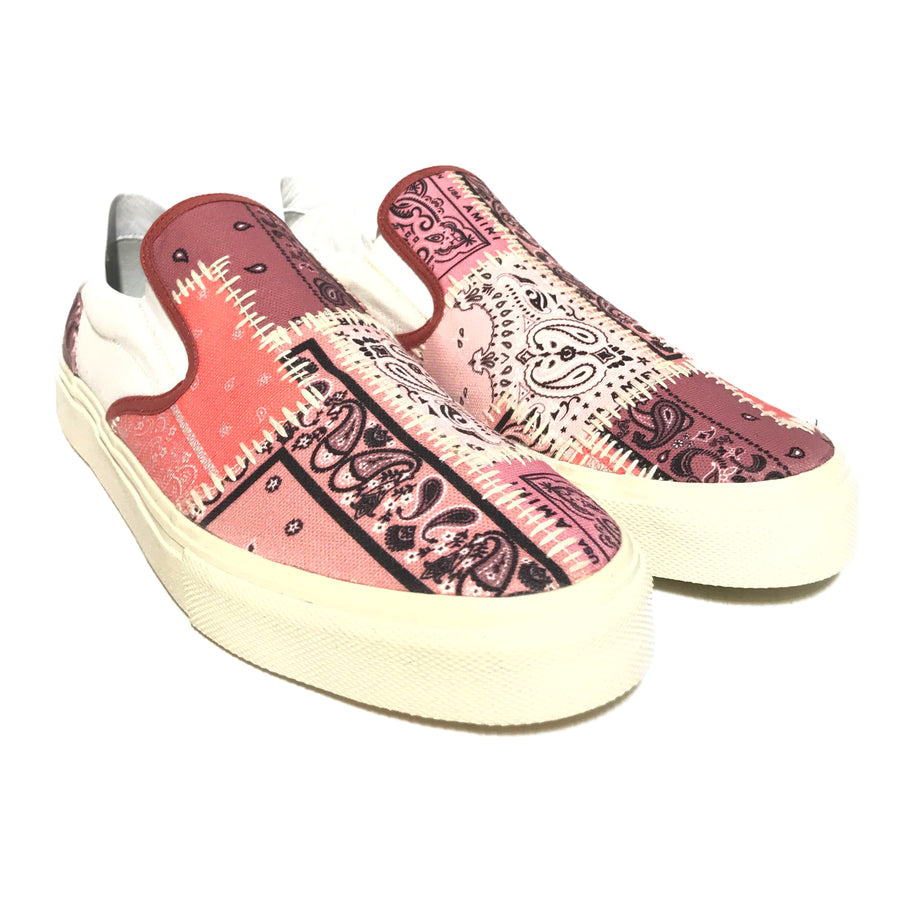 AMIRI/BANDANA RECONSTRUCTED SLIP ON/Low-Sneakers/EU42/PNK/Cotton/All Over Print