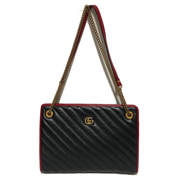 GUCCI/TORCHON MARMONT/Cross Body Bag//BLK/Leather/Plain