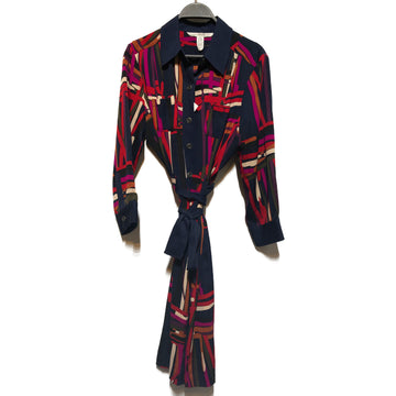 DIANE von FURSTENBERG//LS Blouse/12/MLT/Silk/All Over Print