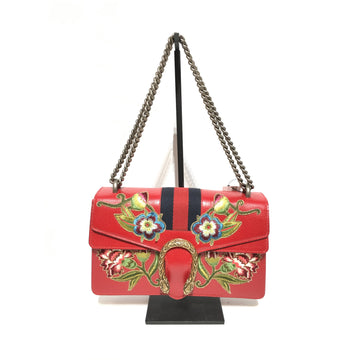 GUCCI//Hand Bag/RED/Leather/Floral Pattern