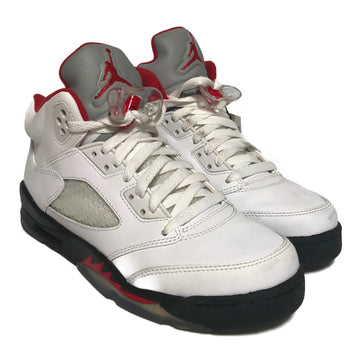 Jordan/5 FIRE RED /Hi-Sneakers/6.5Y/WHT/Leather/Plain