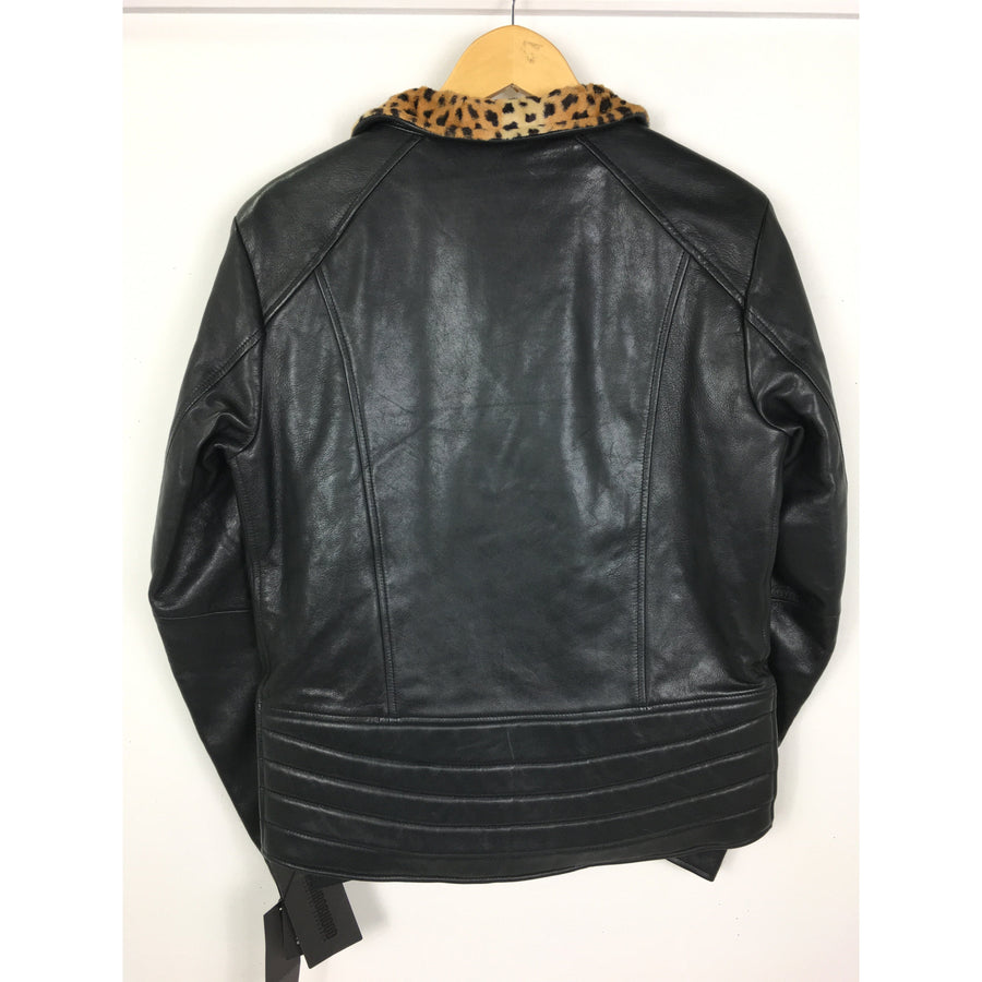 NEIGHBORHOOD/Riders Jkt (W)/M/Leather/BLK/Leopard