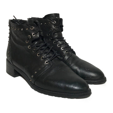 STUART WEITZMAN//Lace Up Boots/US5.5/BLK/Leather/Plain