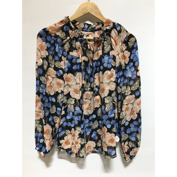 Rebecca Taylor/8/LS Blouse/MLT/Silk/Floral Pattern